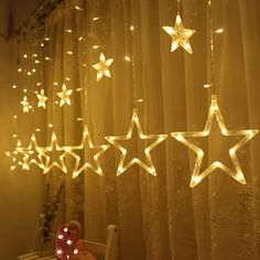 12 Stars 138 LED Curtain String Lights - Window Curtain Lights with 8 Flashing Modes Decoration Christmas - Wedding - Party - Home - Patio Lawn - Warm White - Star Lights - Warm White - - Seasonal Décor, Seasonal Lighting, Indoor String Lights # # White String Lights, Indoor String Lights, Curtain Lights, Ceiling Lights, Ceiling Fans, Christmas Window Lights, Decoration Christmas, Christmas Crafts, Christmas Pizza