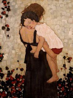 Xi Pan, Mother and Child (2008). Un'opera estremamente delicata della pittrice contemporanea cinese.