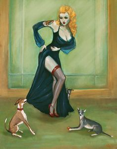 pin up with italian greyhounds