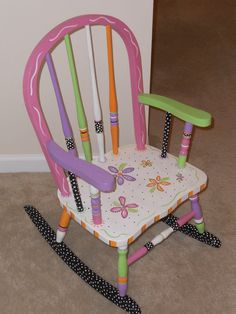 Childs Hand Painted Rocking Chair by impressionsbysusan on Etsy