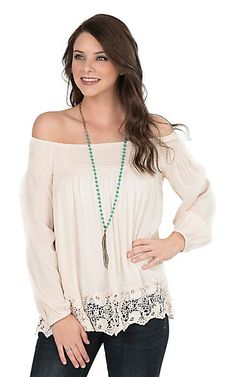 One The Land Women's Vanilla with Crochet Details and Elastic Neckline Long Cinched Sleeve Fashion Top | Cavender's