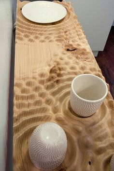 Cnc routed wood shelf created using data from reaction-diffusion program                                                                                                                                                                                 More