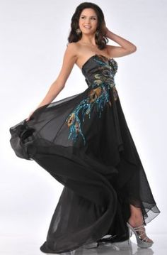 Zeilei  Strapless Peacock Embroidery Evening  Dress