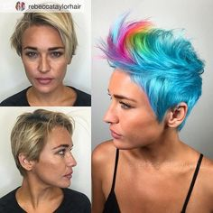 WEBSTA @ bessaysalon - Repost from @rebeccataylorhair @TopRankRepost #TopRankRepost I caaaaaan't with this beauty  Now her outside matches her beautiful, colorful, positive energy. She was gorgeous before (she would be gorgeous in a burlap sack)....but now- DAYUM SON. Comment so I can tag you Lauren! @kenraprofessional @behindthechair_com #neonmania #pixiecut #pixie #transformation #shorthair #haircut #neonhair #colorfulhair #rainbowhair #hair #haircolor