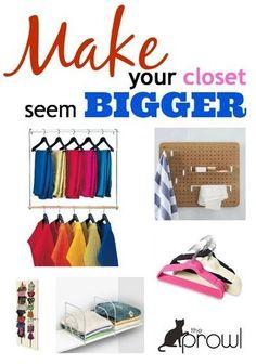 Got a tiny closet? Great tips to make you seem BIGGER! http://thestir.cafemom.com/home_garden/169278/6_ways_to_make_your?utm_medium=sm&utm_source=pinterest&utm_content=thestir&newsletter