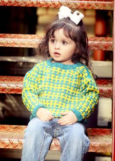 Children's Clothing Teal and Yellow RENO ROAD by YellowHouseKnits