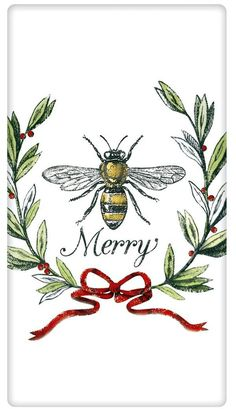 Bee Merry Christmas 100% Cotton Flour Sack Dish Towel Tea Towel