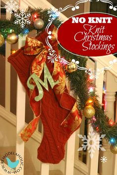 Knit Stockings tutorial (no knitting required!) remodelaholic.com #christmas #stockings #knit #red