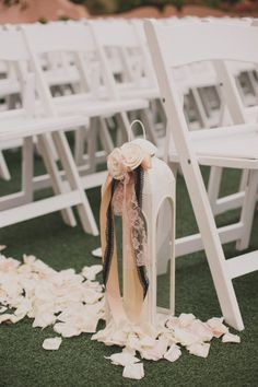 lanterns for aisle... netural, black, white, lace, wedding decor Style Me Pretty | Gallery