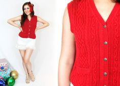 1990s UGLY CHRISTMAS SWEATER Red Knit Cable by LoveologyVintage, $14.00