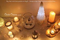Déco de Noël PartyLite Blanc Polaire. Photo et montage Cécile Cloarec, conseillère PartyLite
