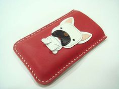 CoCo the French Bull Dog iPhone leather case Red by leatherprince, $42.50
