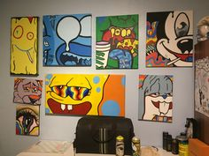 Your_local_cult on insta Hippie Painting, Trippy Painting, Cartoon Painting, Cute Canvas Paintings, Small Canvas Art, Mini Canvas Art, Colorful Drawings, Art Drawings, Hippie Art