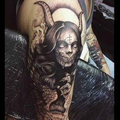 Horror of a woman with devil horns Tattoo  - http://tattootodesign.com/horror-of-a-woman-with-devil-horns-tattoo/     #Tattoo, #Tattooed, #Tattoos