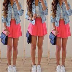 White top + pink skirt + denim jacket.