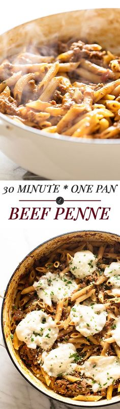A quick and easy dinner! 30 Minute One Pan Beef Penne   girlgonegourmet.com