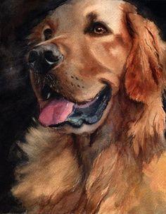 watercolor dog painting | Golden Retriever dog art watercolor by rachelsstudio
