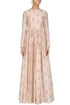 Blush pink floral embroidered anarkali available only at Pernia's Pop Up Shop.