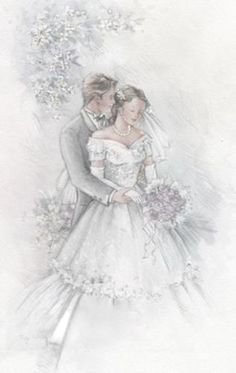 ♥ Wedding Prints, Wedding Art, Wedding Images, Wedding Couples, Wedding Illustration, Paper Illustration, Illustrations, Vintage Wedding Cards, Vintage Bridal