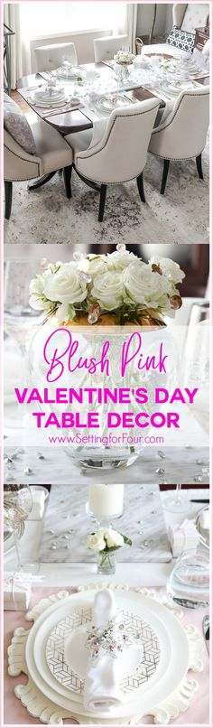 Blush Pink Valentines Day Table Decorations