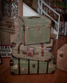 Green Antique Luggage