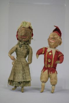 RARE PRESSED COTTON PUNCH AND JUDY ORNAMENTS