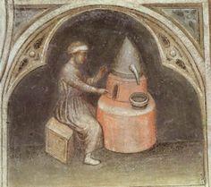 Alchemist with his furnace, fresco, Padua c. 1380