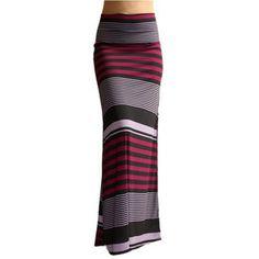 Long Striped Jersey Skirt