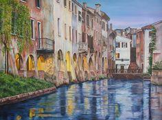"""""""Notturno sul canale"""" olio su tela (60 x 80)"""
