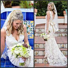 Wholesale Sheath Wedding Dresses - Buy 2014 Romantic Sheath Ivory Garden Wedding Dresses Vestido De Noiva Deep V-Neck with Bow Sash Cutout Back Lace Bridal Gowns, $114.04 | DHgate