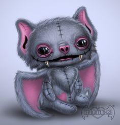 Bon fire Frightlings t Bon fire Gothic art and Dark art Animal Drawings, Cute Drawings, Cute Bat, Sugar Skull Art, Goth Art, Creepy Art, Cute Creatures, Horror Art, Cute Cartoon