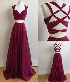 New Arrival A-Line Two-Piece Burgundy Chiffon Long Prom Dress