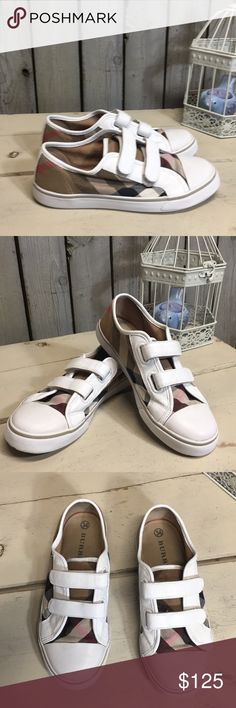 2ade9c90d3 KIDS Unisex Burberry shoes Burberry plaid and white leather velcro sneakers  in preloved condition with normal