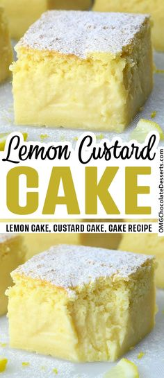 Lemon Custard Cake is a quick and easy dessert recipe, perfect for summer. This cake is soft and creamy, with refreshing lemon flavor. #lemon #custard #cake Lemon Dessert Recipes, Custard Recipes, Sweet Recipes, Baking Recipes, Recipe For Lemon Cake, Easy Custard Recipe, Easy Lemon Cake, Desserts With Lemon, Healthy Lemon Desserts