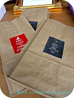 "treat bags to carry treats - ""Keep calm and carry a wand"""