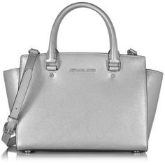 Michael Kors Handbags Selma Saffiano Leather Medium Satchel Bag found on Polyvore featuring bags, handbags, mk, silver, saffiano leather bag, studded handbags, hardware bag, zip top bag and medium satchel handbags