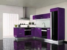 cuisine gris et violet | kitchen | pinterest | cuisine et violettes - Meuble Cuisine Violet