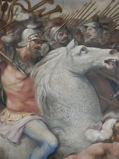 Detail from fresco Battle against the Velenti and the Fedenati by Cavalier d'Arpino 1568-1640 CE    Photographed at the Capitoline Museum, Rome, Italy.