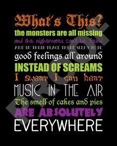 printable the nightmare before christmas lyrics by jaydotcreative - Nightmare Before Christmas Whats This Lyrics