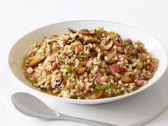 Barley Risotto with Ham and Mushrooms #Protein #Veggies #Grains #MyPlate