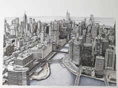 Sprawling Metropolis. Eclectic Mixture of New and Old - Details and WIPs Sketches. By Phoebe Atkey.