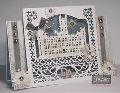 Card made using Crafter's Companion Downton Abbey Vintage Castle Create a Card die, Designed by Jo McKelvey Craft Supplies Uk, Crafters Companion, Rice Paper, Downton Abbey, I Card, Craft Projects, Card Making, Delicate, Paper Crafts