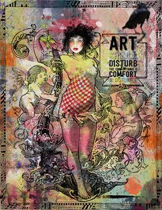 "https://flic.kr/p/MP2ntk | ART | ""Art should disturb the comfortable and comfort the disturbed.""  For an ""artsy"" challenge at Scrapbook Graphics and a word art challenge at Oscraps. Elements from NBK Designs (Change Your Life, PL2015, artANDjournal, lots of India, & United); Foxey Squirrel (Raven); and Julia Makotinsky (Mind Over Matter). #artjournal #digitalartjournaling #digitalart"