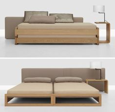 Two beds stacked (without fixings!) make wonderful couch for the daytime, mattress, Manufacturer Zeitraum, Designer Hertel & Klarhoefer Space Saving Furniture, Sofa Furniture, Furniture Design, Furniture Makeover, Modern Furniture, Home Bedroom, Bedroom Decor, Sofa Bed For Small Spaces, Convertible Furniture