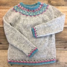 Beautiful fair-isle pullover in grey blue and pink - on the LoveKnitting Community