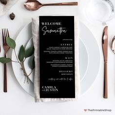 Printable Menu Cards, Black and White Wedding Menu, Personalised Menu, Printable Files, Modern Weddi Printed Wedding Menus, Wedding Menu Cards, Wedding Table, Wedding Ideas, Wedding Dinner, Wedding Signage, Wedding Stationary, Printable Menu, Wedding Printable