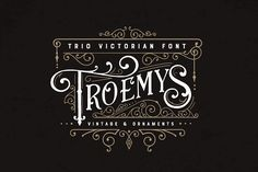 Ad: Troemys Font Trio and extras by BlackCatsMedia on Troemys is a trio font with a vintage, Victorian feel with lots of decorative elements, both in font format and Vector and PNG. 6 logos are Otf Font, Script Logo, Handwritten Fonts, Calligraphy Fonts, Cursive Fonts, Caligraphy, Design Typography, Typography Fonts, Logo Design
