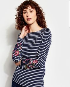 Buy Joules Navy Embroidered Stripe Jersey Top from the Next UK online shop Joules Clothing, Preppy, Stripes, Navy, T Shirt, Joules Uk, Tops, French, Women