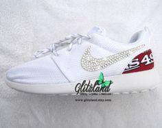 Swarovski Nike White Roshe Run w/ San Francisco 49er Print Heel  Blinged with SWAROVSKI® Crystals
