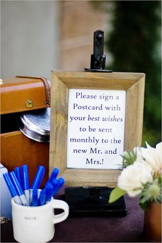 Have your guests fill out a postcard when they arrive with well wishes and advice to be sent to your new home as a married couple. Event Design: Jennie J. Events ---> http://www.weddingchicks.com/2014/05/08/fill-your-wedding-with-love-and-adventure/
